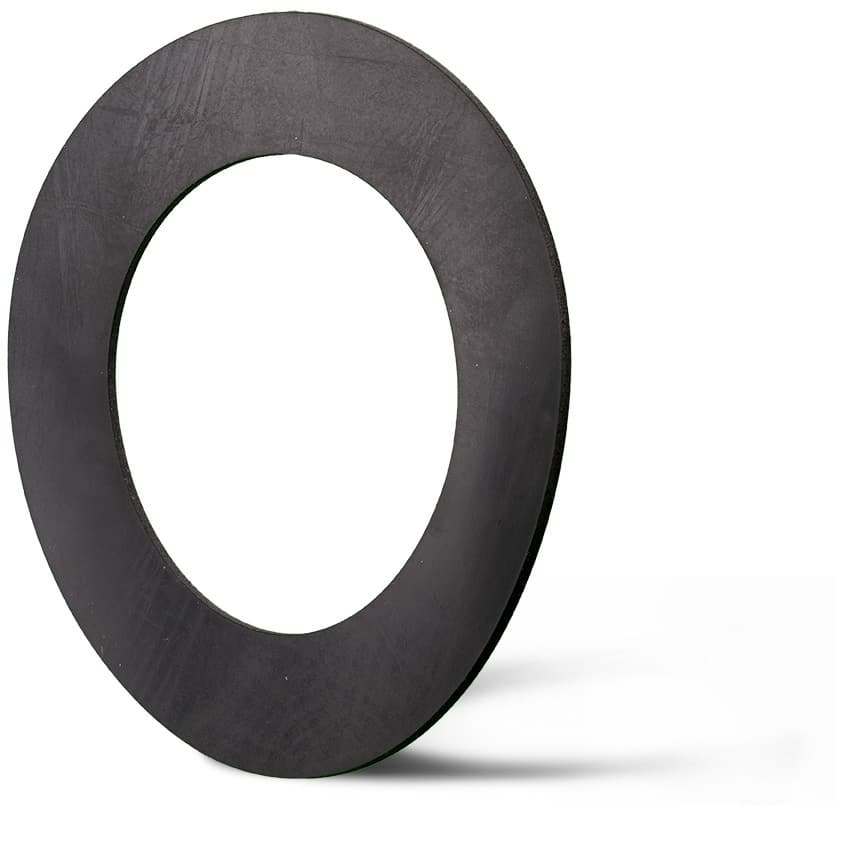 Deutsch: Abbildung zeigt eine DIN – Elastomerflachdichtung aus EPDM. English: Picture displays a rubber flat seal out of EPDM, which follows the Standard DIN.