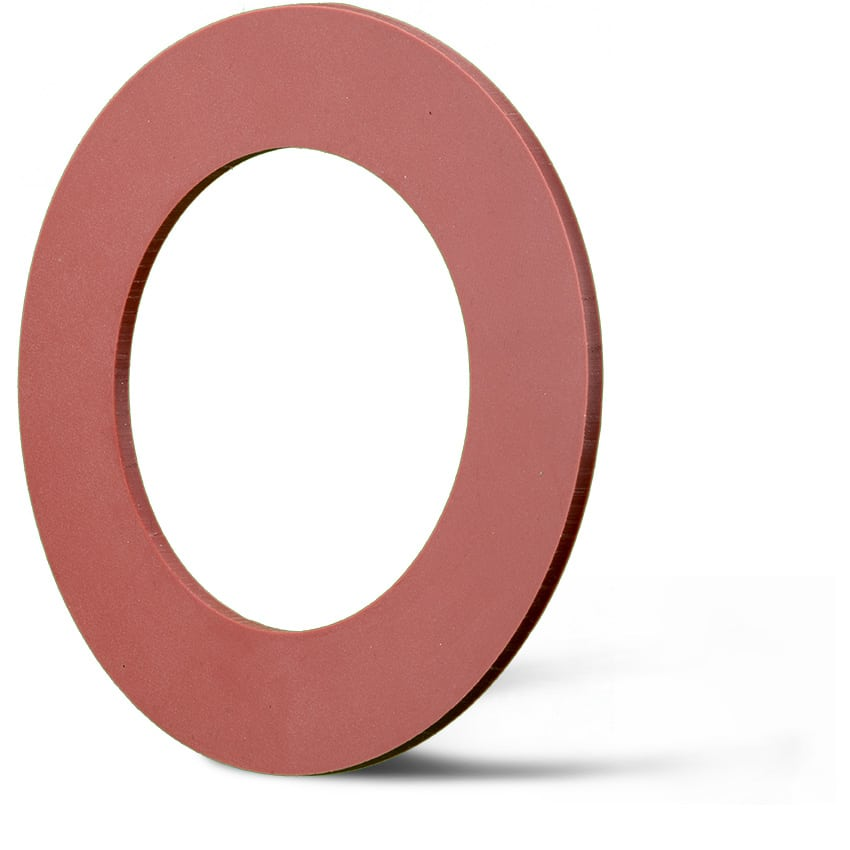 Deutsch: Abbildung zeigt eine DIN – Elastomerflachdichtung aus rotem Silikon. English: Picture displays a flat seal out of red silicon, which follows the Standard DIN.