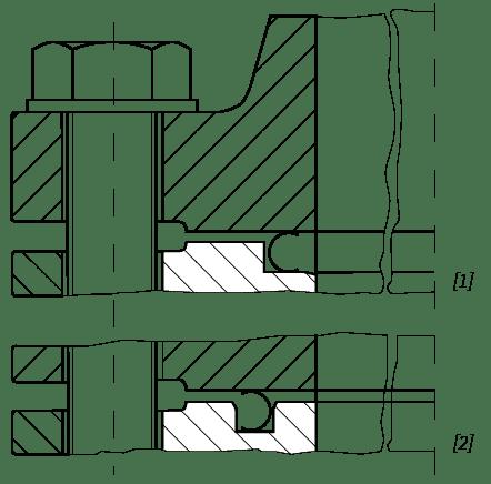 Deutsch: Abbildung zeigt ein Schnittbild von einer eingebauten Metalldichtung English: Figure shows a sectional view of a assembled metal gasket