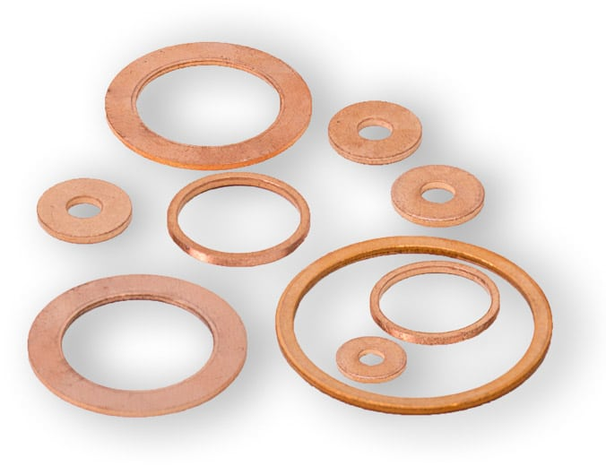 Deutsch: Abbildung zeigt Metalldichtringe aus dem Grundmaterial Kupfer für Hochdruckanwendungen. English: Picture displays copper ring seals for high pressure applications.