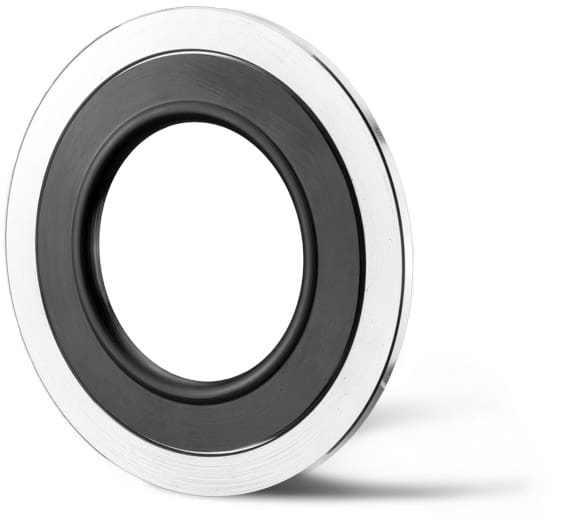 Deutsch: Kombination aus Gummi-Stahldichtung mit massiven Stützring English: Combination of a rubber steel seal and a massive stainless steel support ring