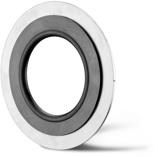 Deutsch: Abbildung zeigt eine DIN – Gummistahldichtung aus NBR mit Edelstahlstützring. English: Picture displays a rubber steel seal, which follows the Standard DIN with a stainless steel support ring.