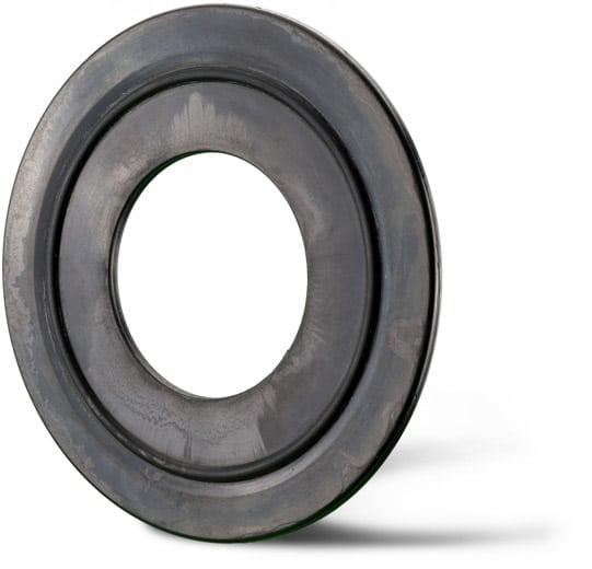 Deutsch: Abbildung zeigt eine DIN – Gummistahldichtung aus NBR mit einem auf vulkanisiertem halbseitigem O-Ring. English: Picture displays a rubber steel seal, which follows the Standard DIN and has a cured on seal ring.