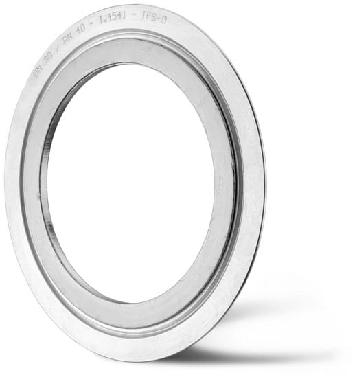 Deutsch: Abbildung zeigt eine Kammprofildichtung mit angedrehtem Zentrierrand und Graphitbelegung. English: Picture displays a serrated gasket with a centering and a graphite cover.