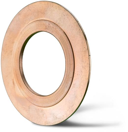 Deutsch: Abbildung zeigt eine Kammprofildichtung mit angedrehtem Zentrierrand aus dem Grundmaterial Kupfer. English: Picture displays serrated gasket with a centering out of copper.
