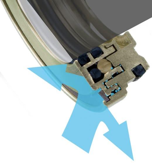 Deutsch: Abbildung verdeutlicht die gute Dichtwirkung der LabTecta®66. Der großteil des Wasserstrahls (Blau) wird bereits am Gehäuse der Dichtung abgelenkt. Das danach folgende Labyrinth, drosselt die Flüssigkeit und führt die Flüssigkeit ab. Ein Aufstauen wird somit verhindert.