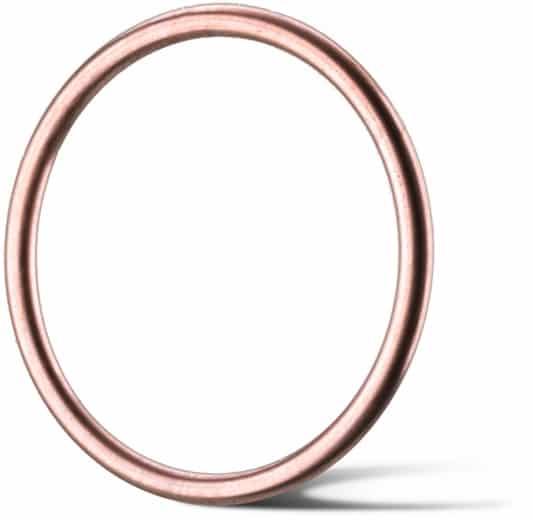 Deutsch: Abbildung zeigt einen O-Metalldichtring aus Kupfer für Hochtemperatur und Hochdruckanwendungen.