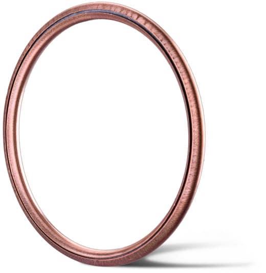 Deutsch: Abbildung zeigt einen C-Metalldichtring aus Kupfer für Hochtemperatur und Hochdruckanwendungen.