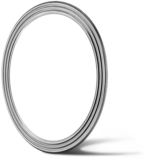 Deutsch: Abbildung zeigt eine Edelstahl Wellringdichtung. English: Picture displays corrugated stainless metal gaskets without the cover an soft seal.