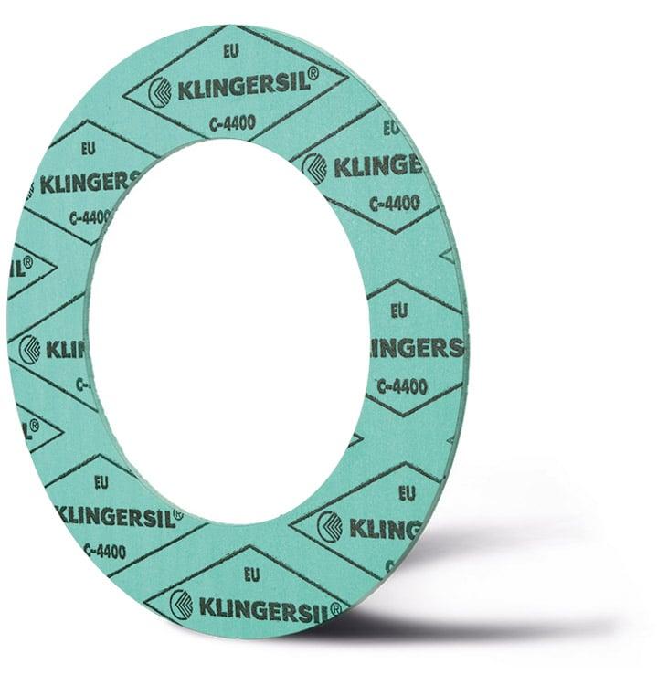 Deutsch: Abbildung zeigt eine DIN - Faserstoffflachdichtung aus Klingersil® C-4400. English: Picture displays a flat seal out of Klingersil® C-4400, which follow the Standard DIN.