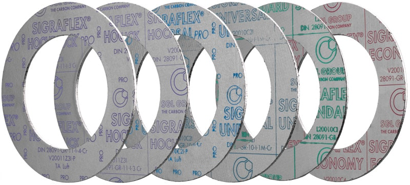 Deutsch: Abbildung zeigt eine DIN – Flachdichtung aus Graphit SIGRAFLEX® Hochdruck Pro. English: Picture displays a graphite flat seal out of SIGRAFLEX® Hochdruck Pro, which follows the DIN – Standard.