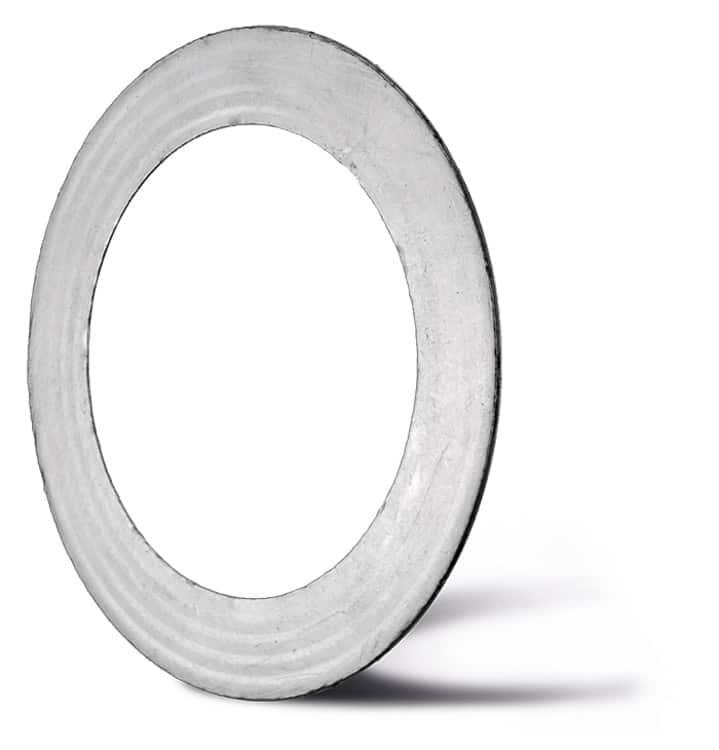 Deutsch: Abbildung zeigt eine Wellringdichtung mit Graphitbelag. English: Picture displays a corrugated metal gaskets with a soft seal out of graphite.