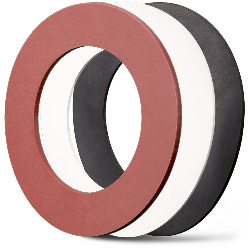 Deutsch: Abbildung zeigt Elastomere-Flachdichtungen aus EPDM und Silikon   English: picture displays rubber flat seal out of EPDM and silicon