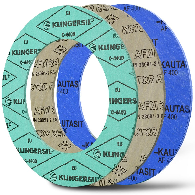Deutsch: Abbildung zeigt Faserstoffdichtungen der Marke Klingersil® C-4400, Victor Reinz AFM 34, Kautasit AF400. English: picture displays fibre gaskets of the following brand: Klingersil® C-4400, Victor Reinz AFM 34, Kautasit AF400