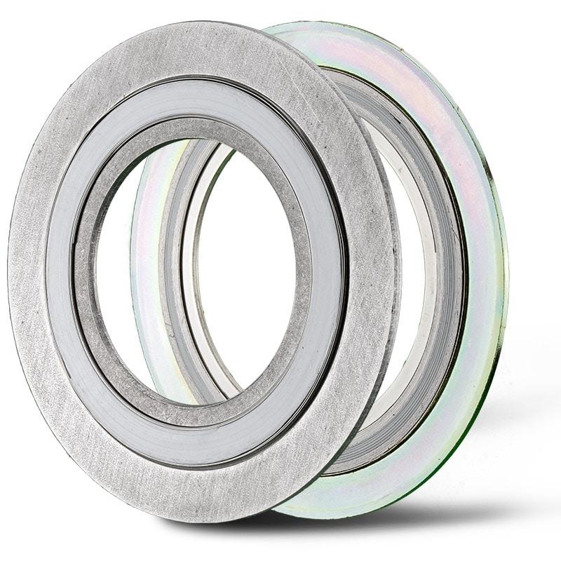 Deutsch: Abbildung zeigt Spiraldichtungen mit PTFE und Graphit Wicklungen Englsih: Picture displays two spiral seals with PTFE and graphit coil