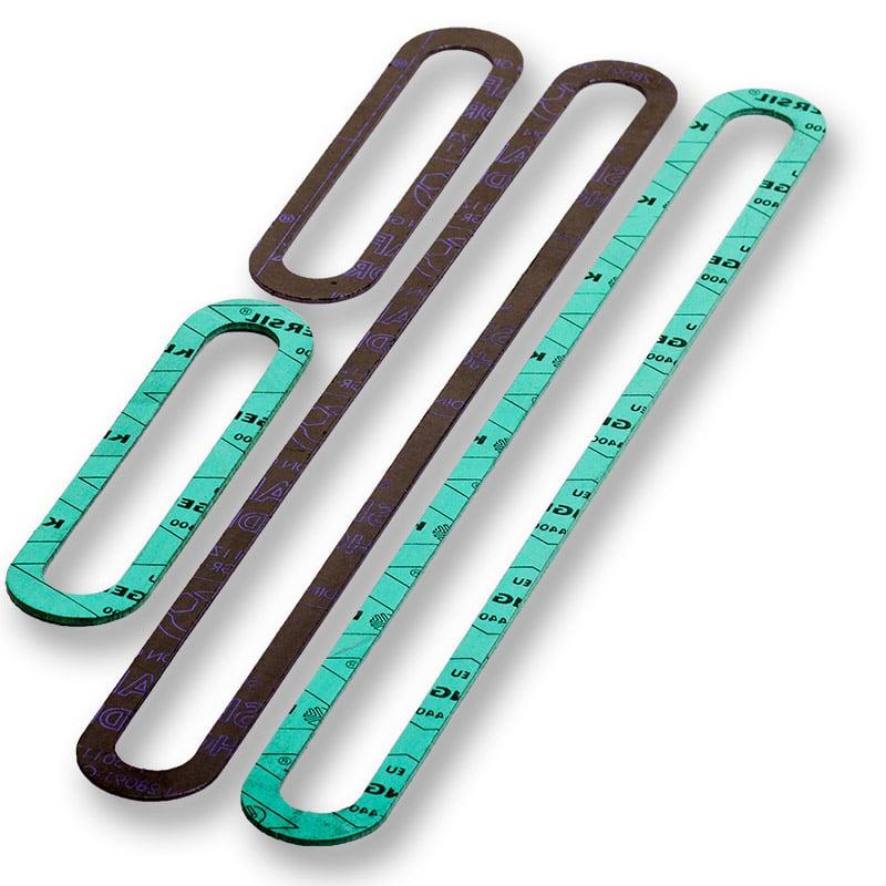 Abbildung zeigt Schauglasdichtungen aus Faserstoffdichtungen und Graphitdichtung. Picture displays sight glass seals.