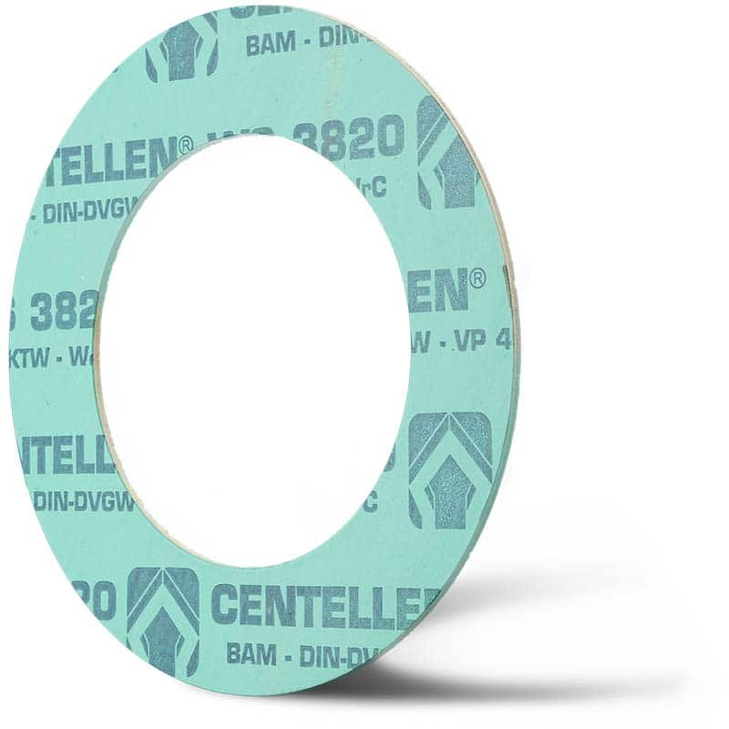 Deutsch: Abbildung zeigt eine DIN - Faserstoffflachdichtung aus Hecker Centellen® WS 3820. English: Picture displays a flat seal out of Hecker Centellen® WS 3820, which follow the Standard DIN.