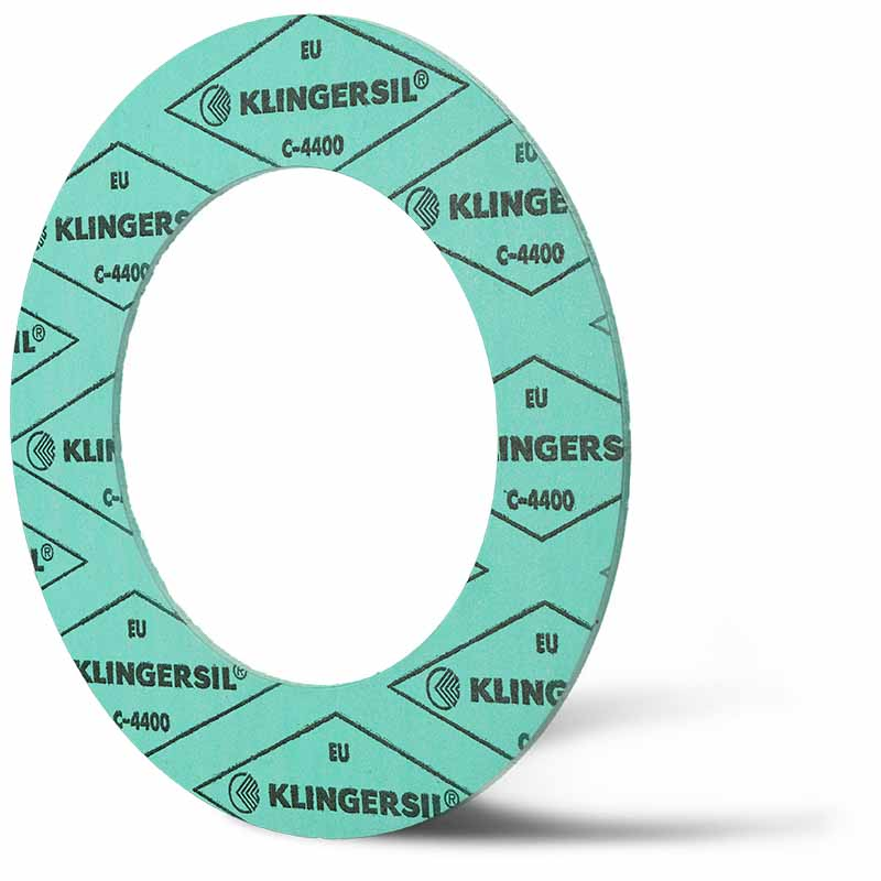 Deutsch: Abbildung zeigt eine DIN - Faserstoffflachdichtung aus Klingersil® C-4400. English: Picture displays a flat seal out of Klingersil® C-4400, which follow the Standard DIN.