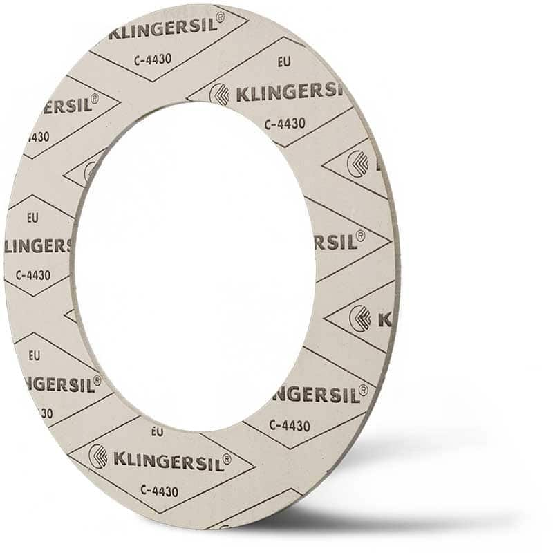 Deutsch: Abbildung zeigt eine DIN - Faserstoffflachdichtung aus Klingersil® C-4430. English: Picture displays a flat seal out of Klingersil® C-4430, which follow the Standard DIN.