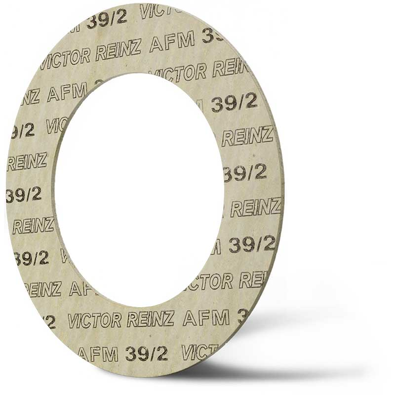 Deutsch: Abbildung zeigt eine DIN - Faserstoffflachdichtung aus Victor Reinz®AFM 39/2. English: Picture displays a flat seal out of Victor Reinz®AFM 39/2, which follows the Standard DIN.